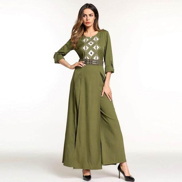New Embroidered Muslim Abaya Dress Malaysia Women Clothing Formal Chiffon Islamic Long Sleeve Dresses - intl