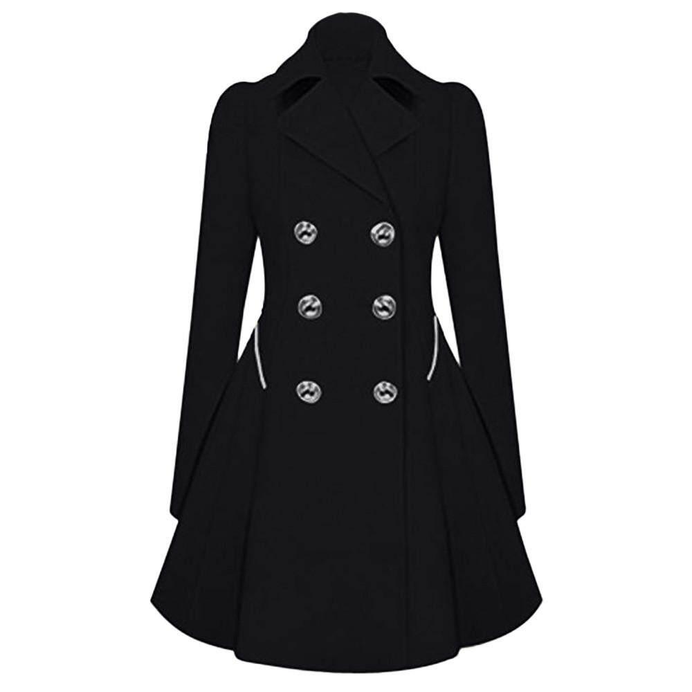 Yhystore Pakaian Hangat untuk Wanita Di Musim Dingin Wanita Lapel Gaya Mantel Parka Panjang Trench Jaket Luar