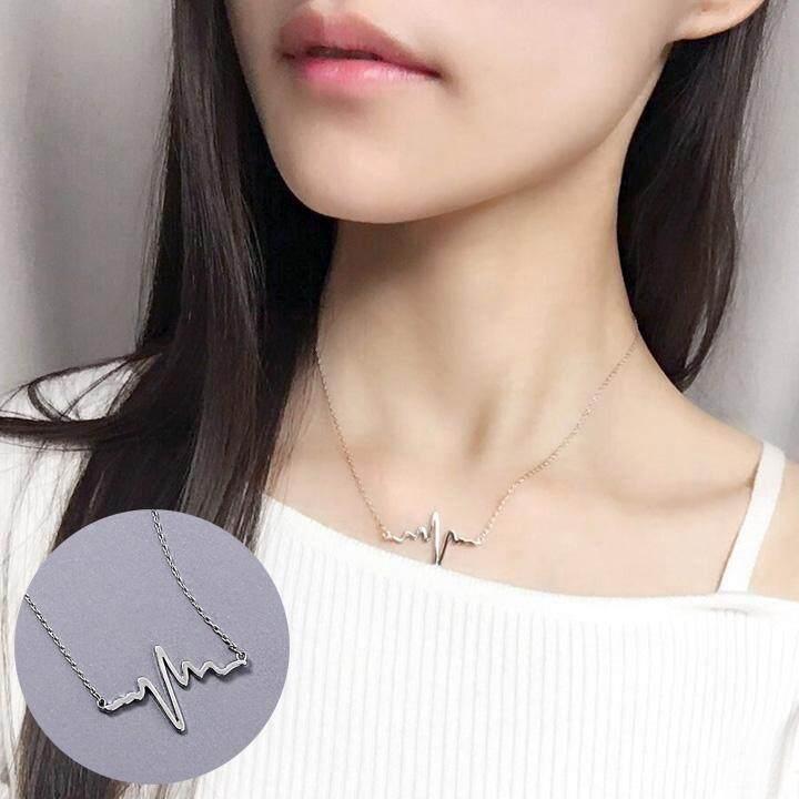 【8 # Heartbeat Necklace - Disepuh dengan emas putih】bagian pendek sederhana dan elegan chic mahasiswa Korea Selatan di jaringan kreatif Red tide Ms. rantai klavikula rantai leher kalung neckband