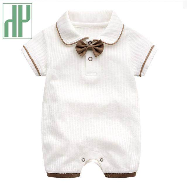 8822c9cec9901 Baby boy summer clothes Short sleeve one-pieces jumpsuit bow onesie baby  gentleman clothes Cotton newborn unisex