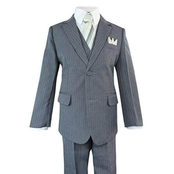 Luca Gabriel Balita Anak Laki-laki 5 Piece Abu-abu Pinstripe Suit Set Saputangan-12-Intl