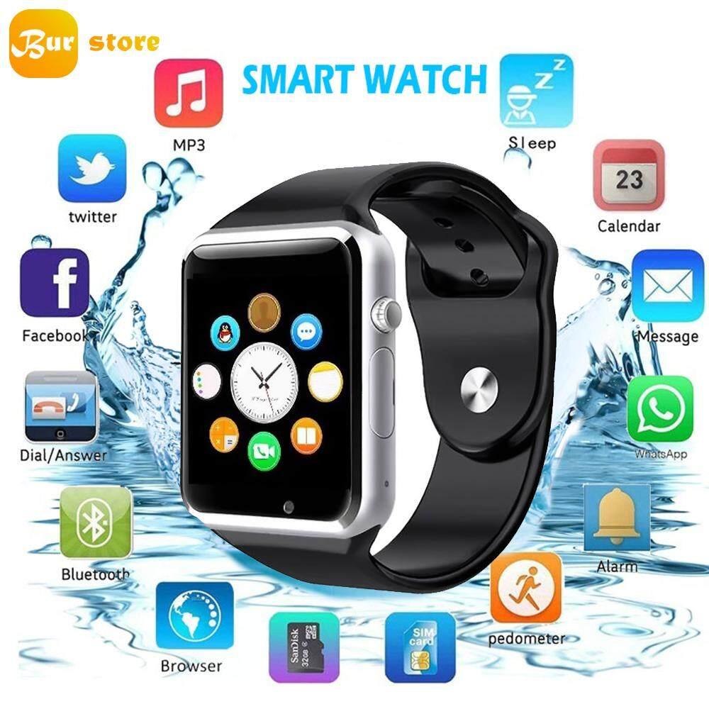 Burstore A1 Bluetooth Menyentuh Layar Pintar Pergelangan Tangan Jam Tangan Tahan Air GSM Ponsel untuk Android Samsung iPhone Ios