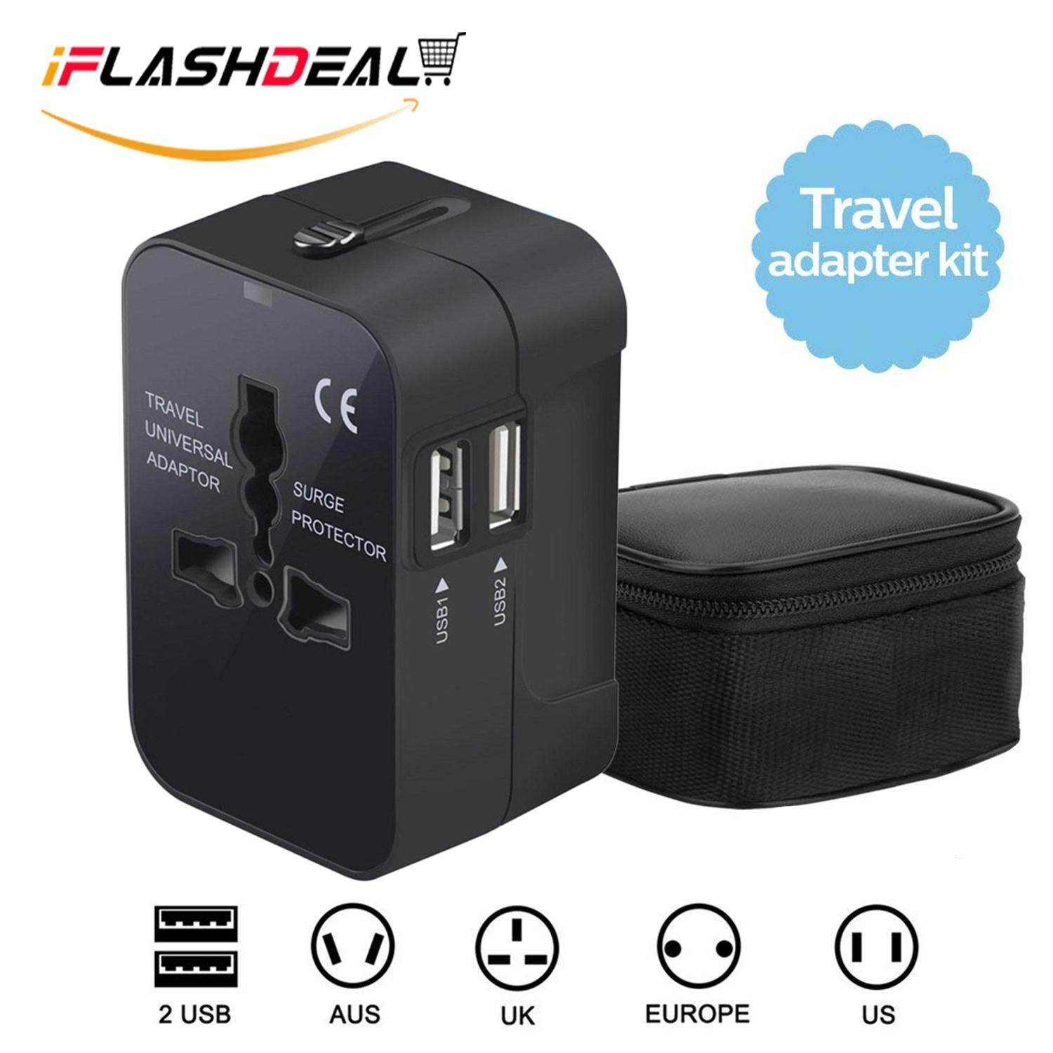 iflashdeal universal travel power adapter, international wall charger  adaptor travel plug for uk/usa