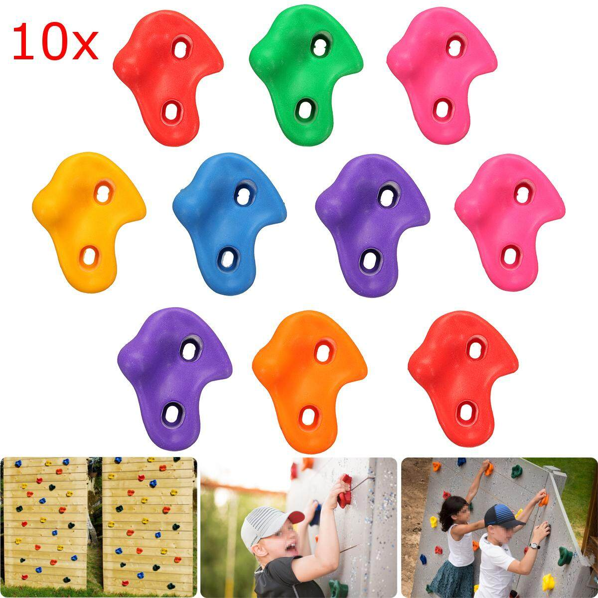 10pcs Plastic Children Kids Rock Climbing Wood Wall Stones Hand Feet Holds Grip Kits With Screw Random Color Fixing Prices According To Quality Of Products Camping & Hiking Sports & Entertainment