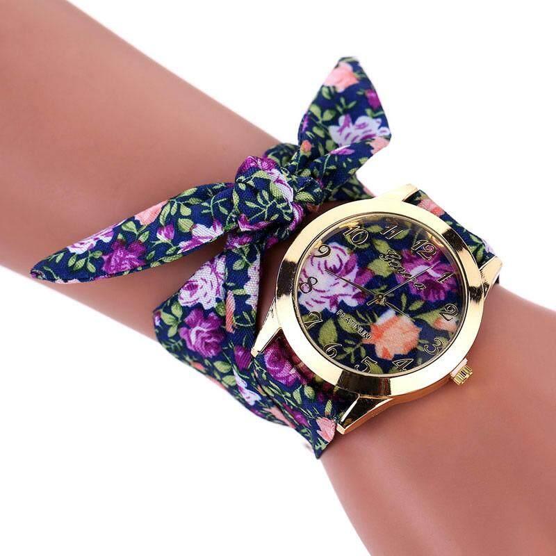 Women Lady Watches Flower Cloth Floral Bracelet Dress Bangle Quartz Wrist Watch Malaysia