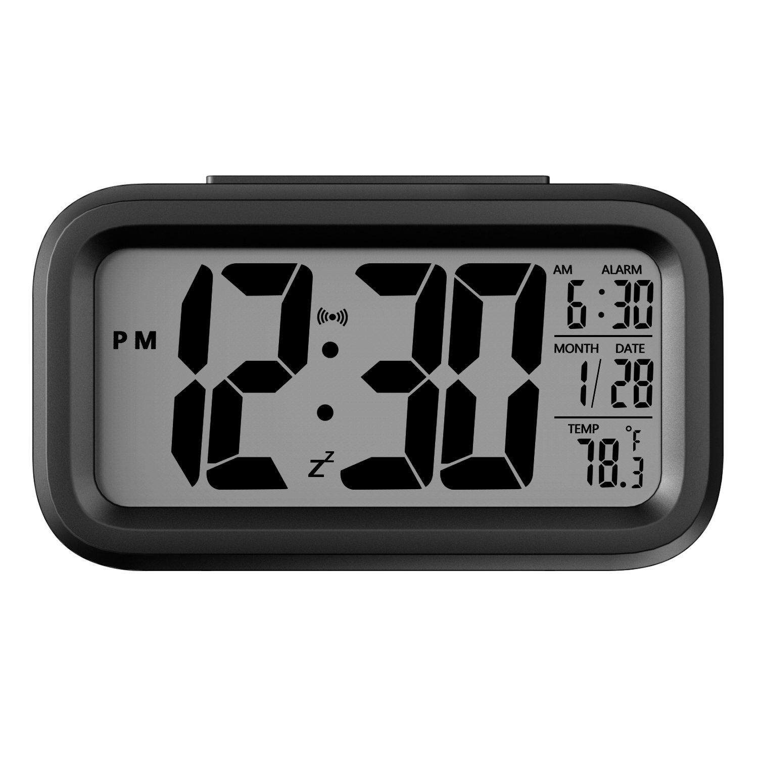 Battery Operated HH048 LCD Display Digital Smart Alarm Clock With Snooze  Back Light Night Light And