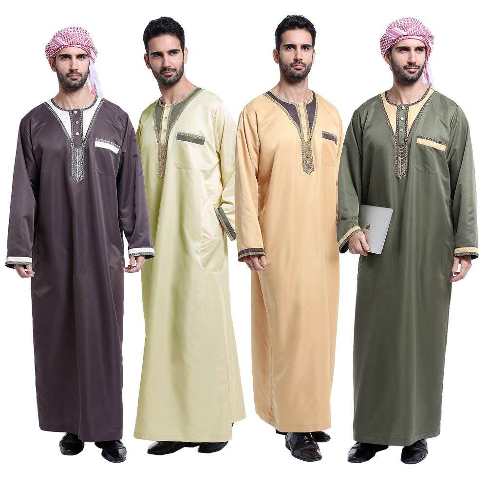 3682b43f92f9 Arab clothing men islamic abaya Muslim thobe for men Middle East men s robe  embroidery - intl