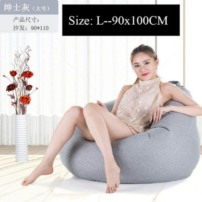 Leifen Bean Bag Sofa Cover Chairs Pouf Puff Linen Cloth Lazy BeanBag Sofas Without Filling Lounger Seat Tatami Living Room Furniture