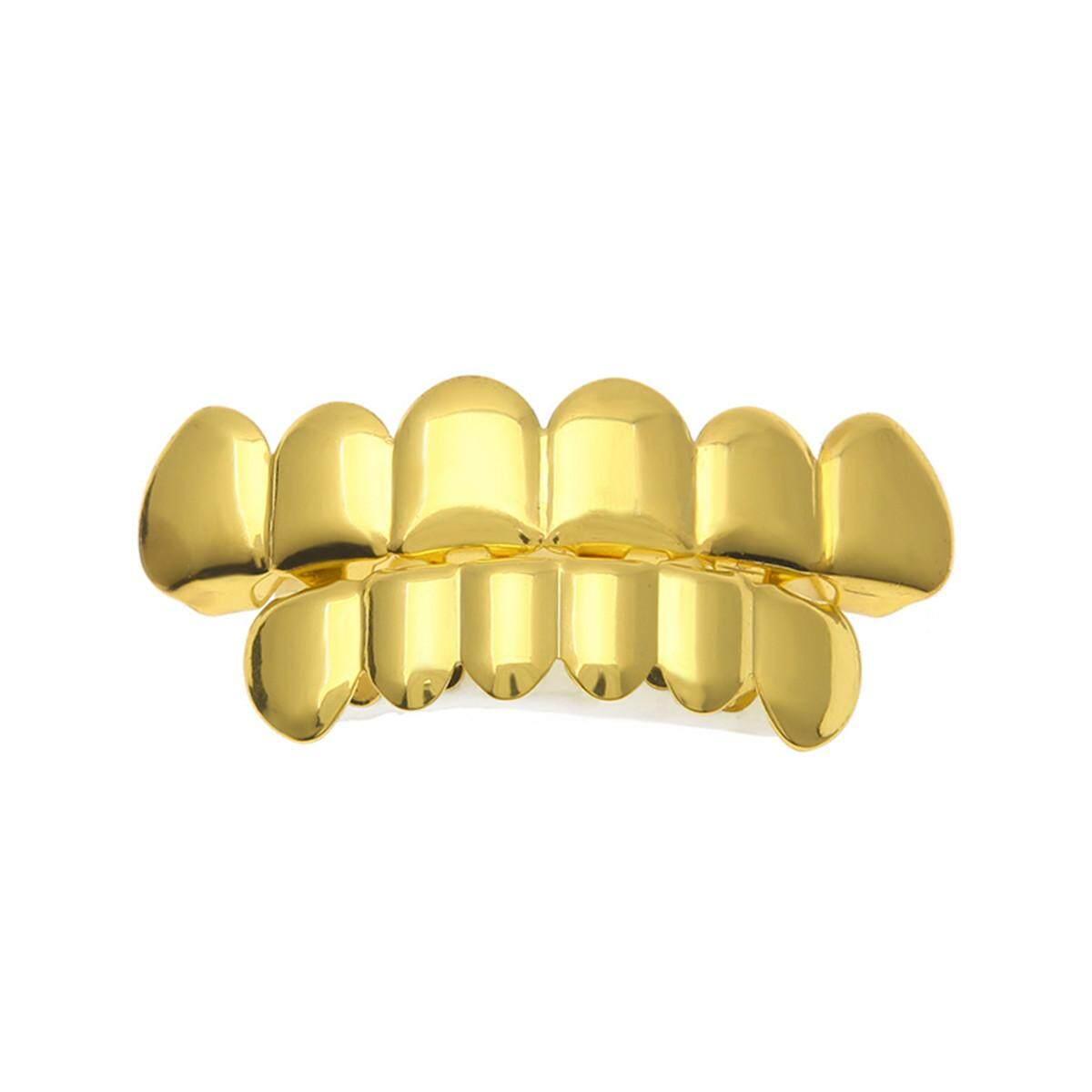 Hình ảnh Mạ vàng Hip Hop Răng Khuôn Răng Nón & Răng Dưới Vỉ Nướng Trang Trí Tiệc # Cài Vàng