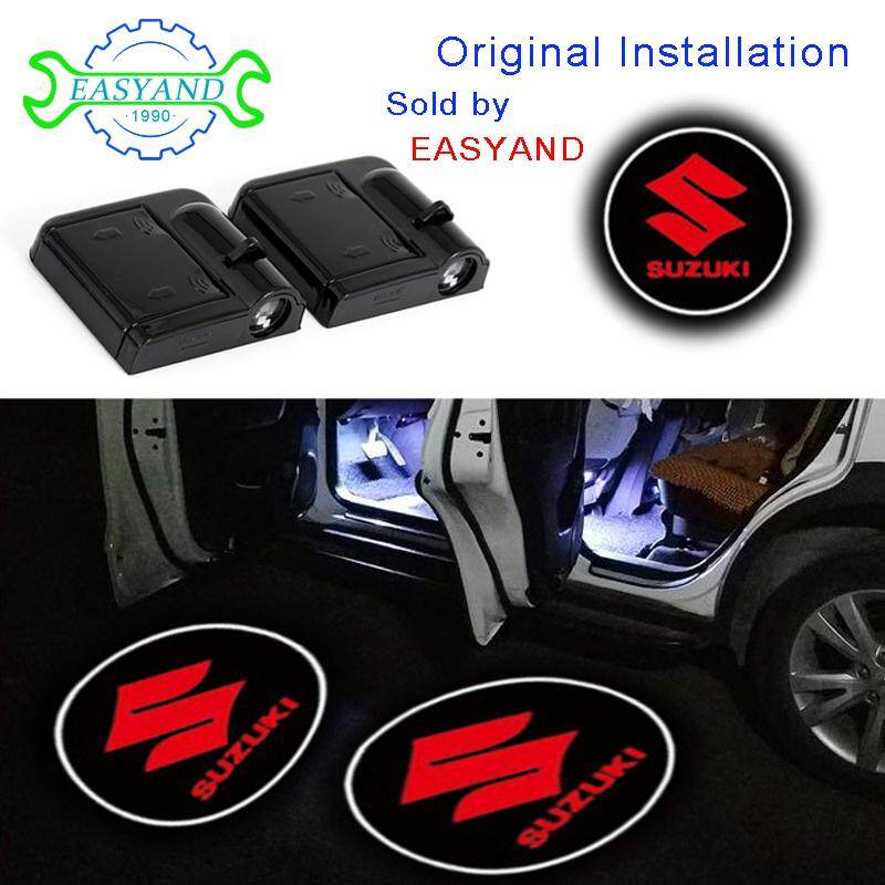 EASYAND 2pcs LED Courtesy Light Wireless Car Door Projector Lamp No drill Installation .