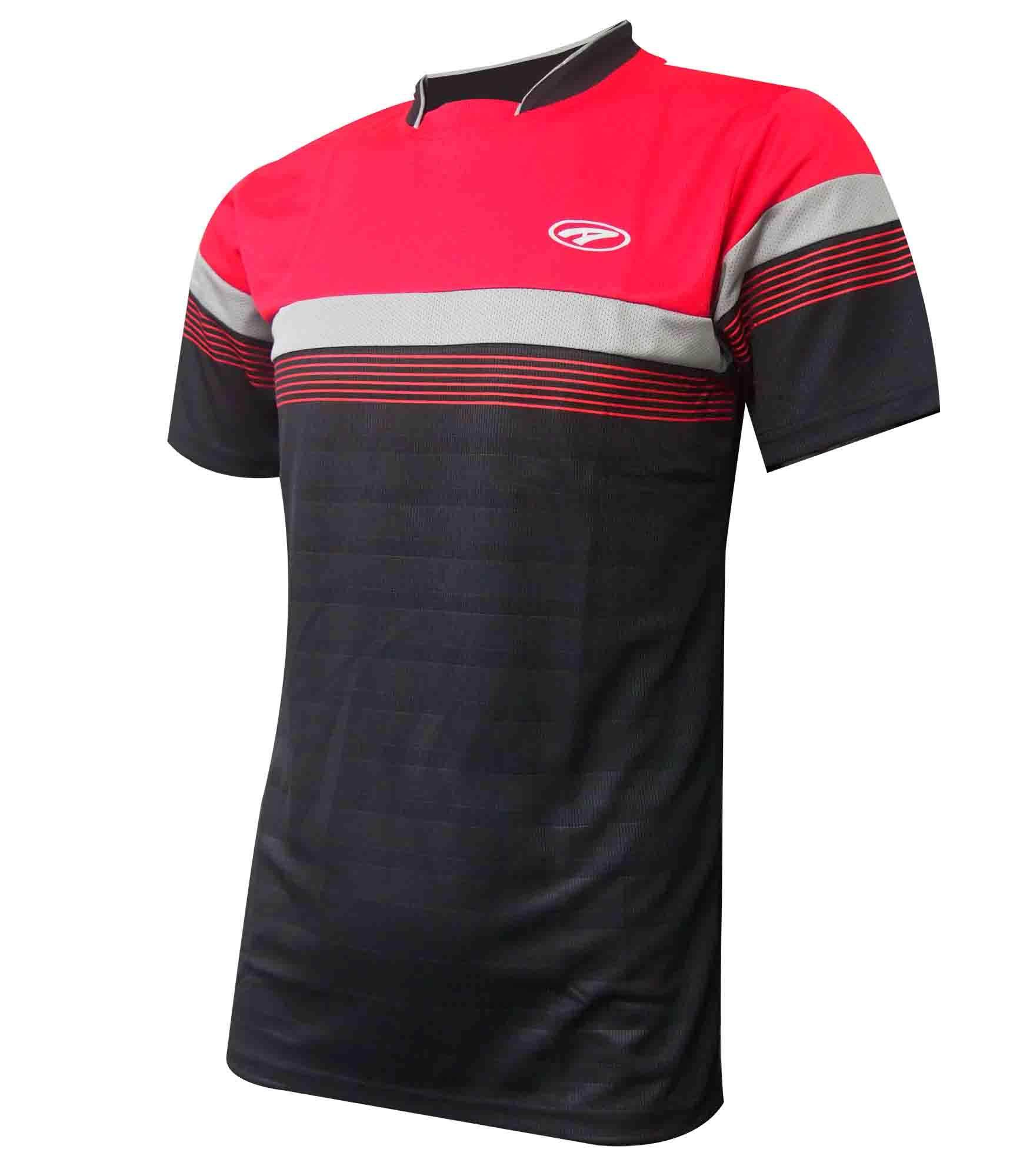 Ambros Mandarin Collar Jersey for Men - Red/Black