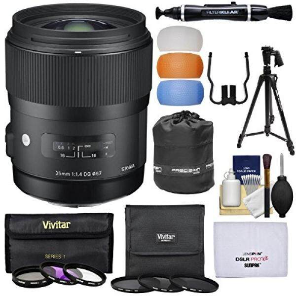 Sigma 35mm f/1.4 Art DG HSM Lens with 6 Filters + Tripod + Pouch + Kit for Canon EOS Digital SLR Cameras