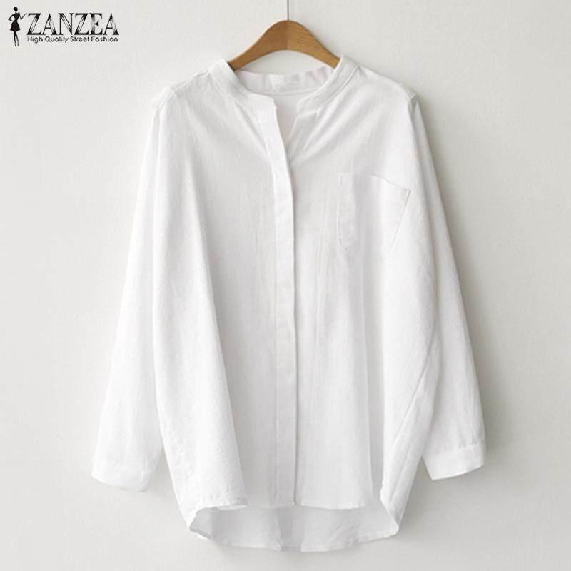 ab9835d37701 ZANZEA Women Long Sleeve Basic Button Down Shirt Top Tee Office Work Plus  Size Blouse