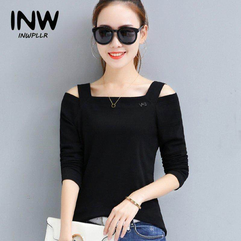 40111d4c413 INWPLLR Women's Fashion T-shirt Ladies Open Shoulder Tops Tees Autumn Long  Sleeve Plus Size