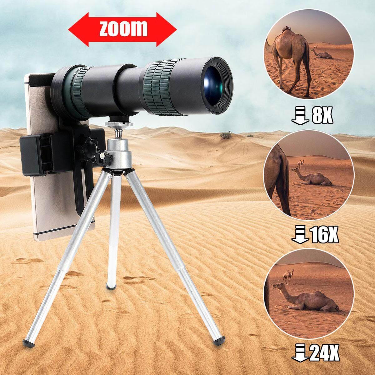 8X-24X Zoom Teleskop Telefoto Monokuler Optik Lensa Kamera + Telepon Clip + Tripod-
