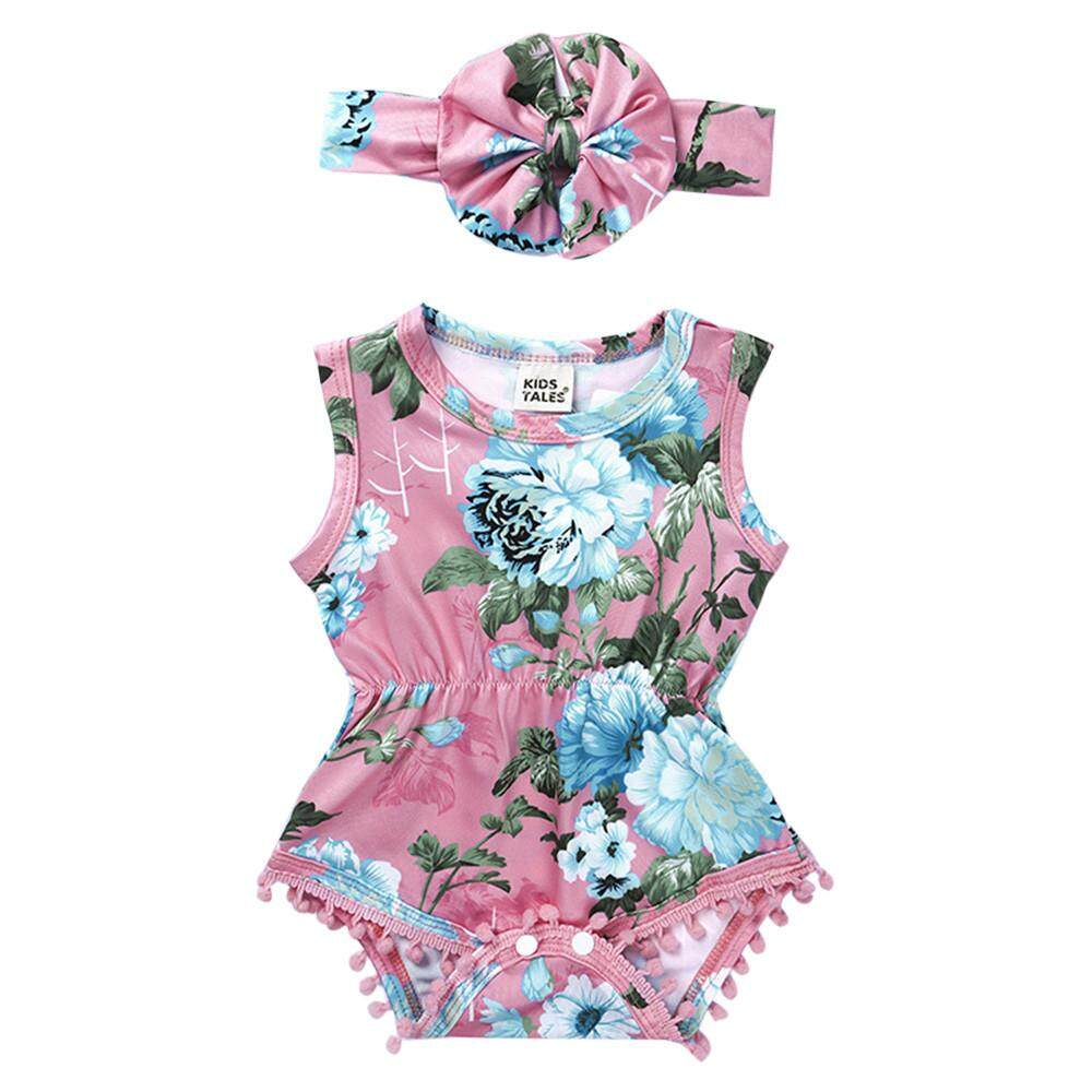 90b62421adeb Dotsonshop Free shipping Newborn Infant Baby Girl Floral Romper Jumpsuit  Sunsuit Headband Outfits Clothes