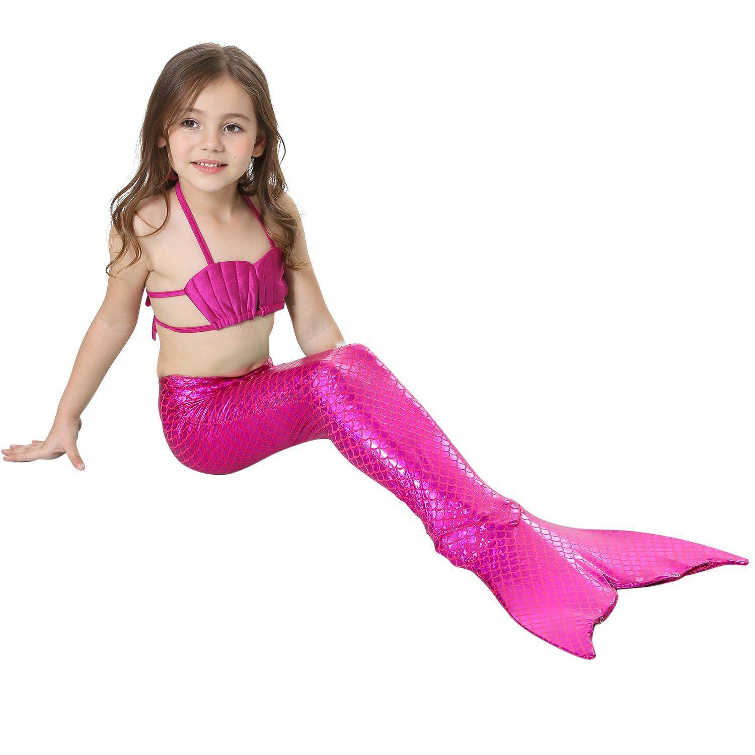 3db17cba36a90 JS 3-10Y Kids Mermaid Cosplay Swimwear Suit Girls Little Mermaid Tails  Children Swimsuit Bikini