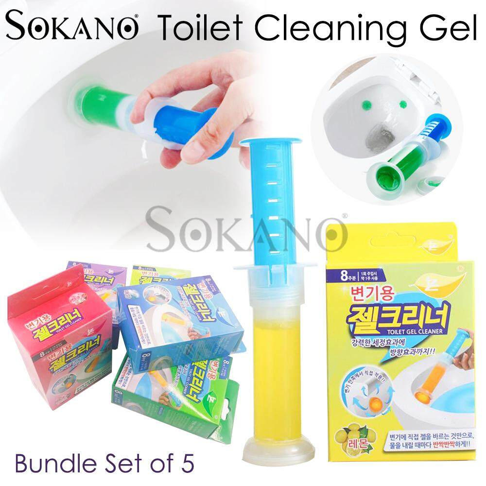 (RAYA 2019) BUNDLE SET OF 5: SOKANO Toilet Cleaning Gel Remove Stain Air Fresher Scrubbing Bubbles Household Cleaning Tool Random Fragrance