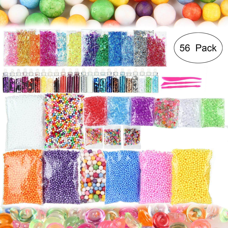 Aolvo Slime Supplies Kit, 56 Pack Slime Kit For Girls, Include Foam Balls,