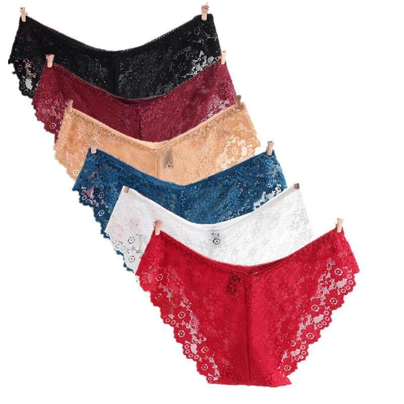 aaad23c254fc 6pcs/lot S M L Low Waist Full Lace Women Underwear Transparent Briefs Lady  Panties