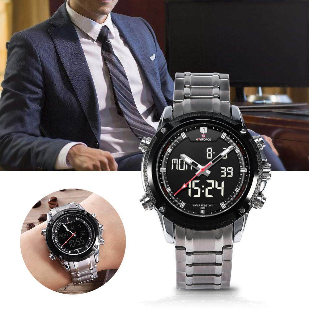 Naviforce Nf9050 Movt Ganda Pria Quarz Perhiasan Sejalan Digital Nf9097 Jam Tangan Strap Leather Hitam Spec