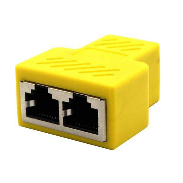 Magideal RJ45 Jaringan Splitter Adaptor-1 RJ45 Wanita Ke 2 RJ45 Jaringan Wanita Splitter Adaptor, Konektor Lan, cocok untuk Kategori Super 5 Ethernet, Ethernet Kategori 6 Kuning-Internasional