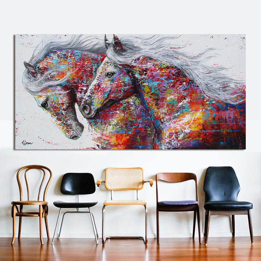 Big House 2 Running Horse Wall Art Picture Canvas Oil Painting Animal Print For Living Room Home Decor