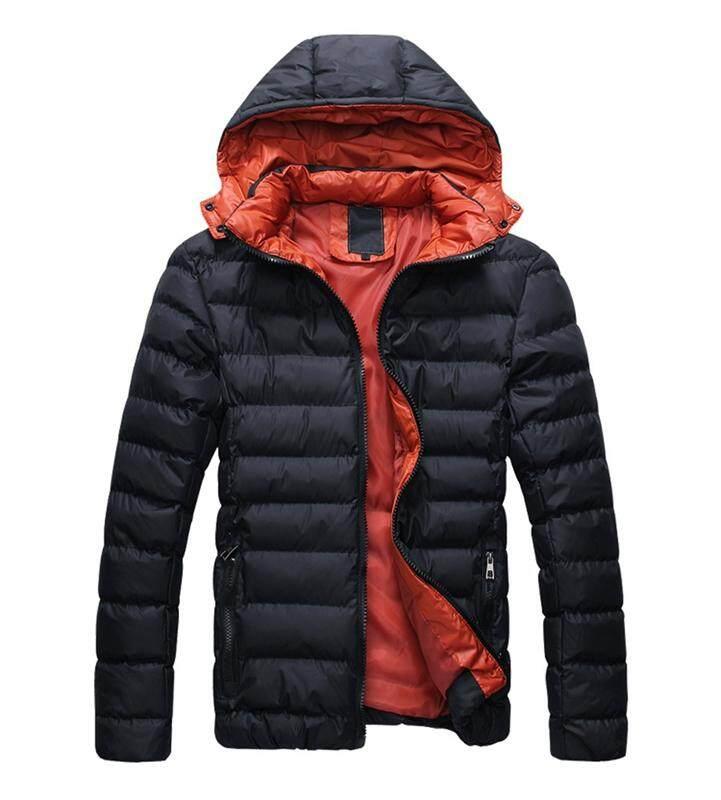 Pria Tudung Hangat Mantel Berponco Jaket Pakaian Luar Jas Musim Dingin Jaket Bulu Angsa-Hitam dan Merah XL-Intl