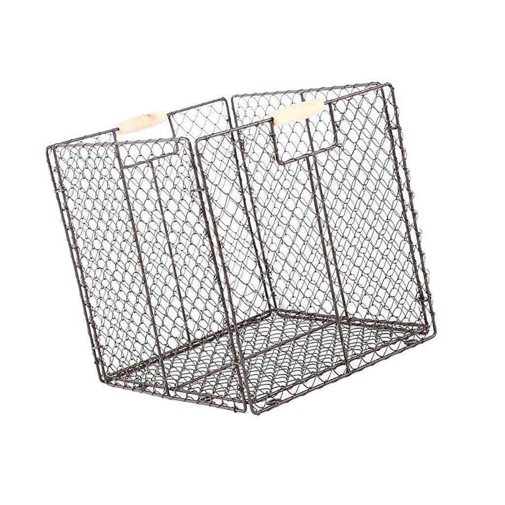 BolehDeals Foldable Home Storage Organizing Metal Wire Baskets Bins with Handles Brown