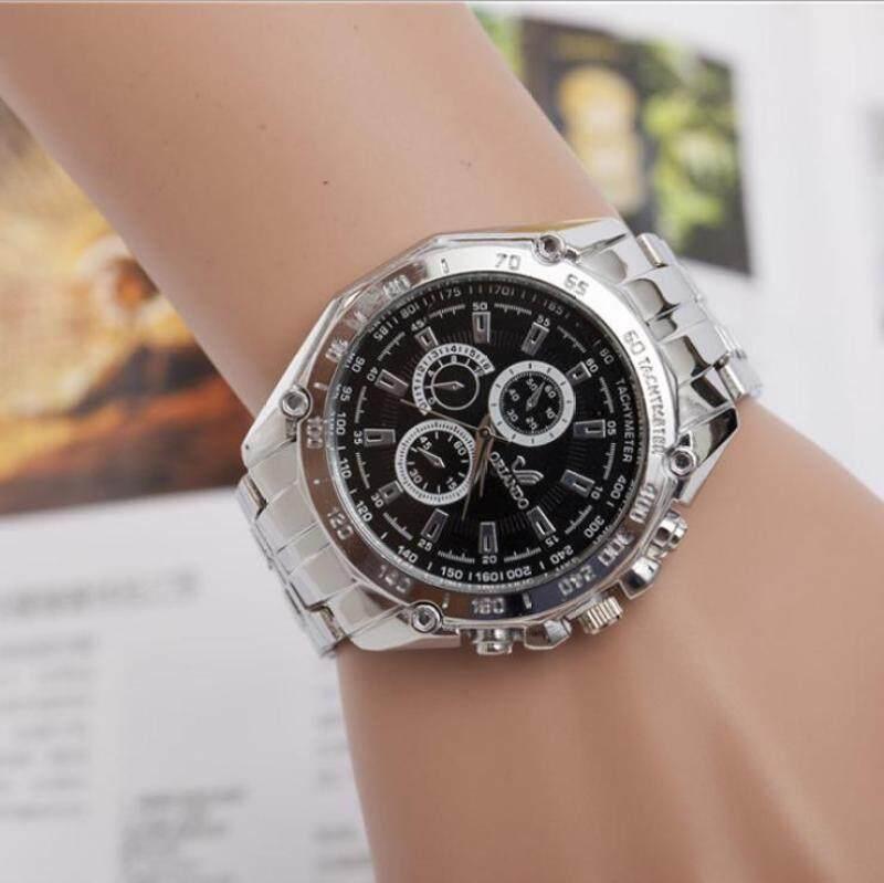 The new alloy steel band male female watch full drill side three decorative quartz watch(Black dial) Malaysia