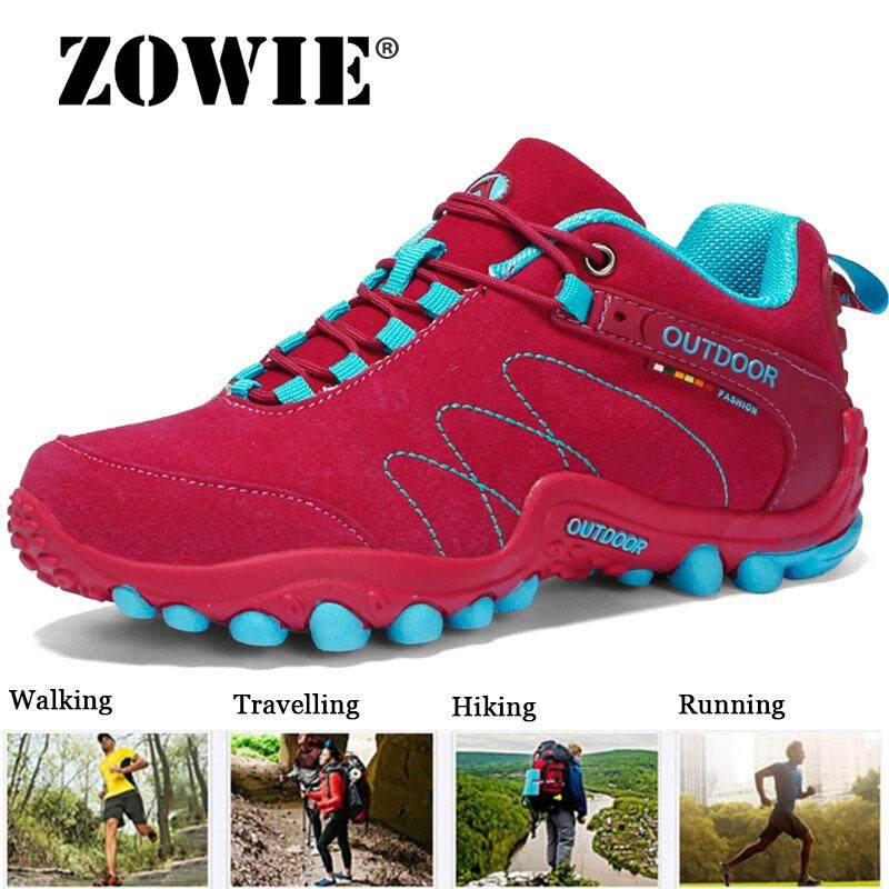 Zowie Wanita Berjaga-jaga Unisex Olahraga Di Luar Ruangan Kulit Suede Hiking Sepatu Wanita Sepatu