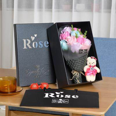11 Pcs Colorful Roses Bouquet Free Teddy Bear