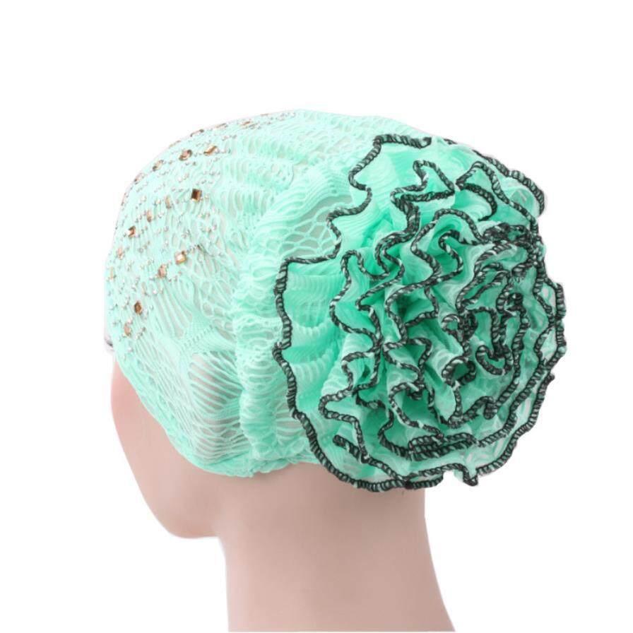 New Hot Diamond Warna Ganda Piring Bunga Cap Tidal Hat Jilbab Muslim Baru Topi Baotou.