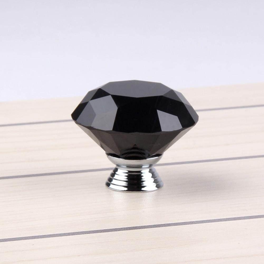 Unik Hitam Berlian Bentuk Kristal Bola Pintu Kenop Paduan Seng Gagang Lemari Laci Lemari Pakaian Lemari Dapur Pintu SA yanyi-Internasional