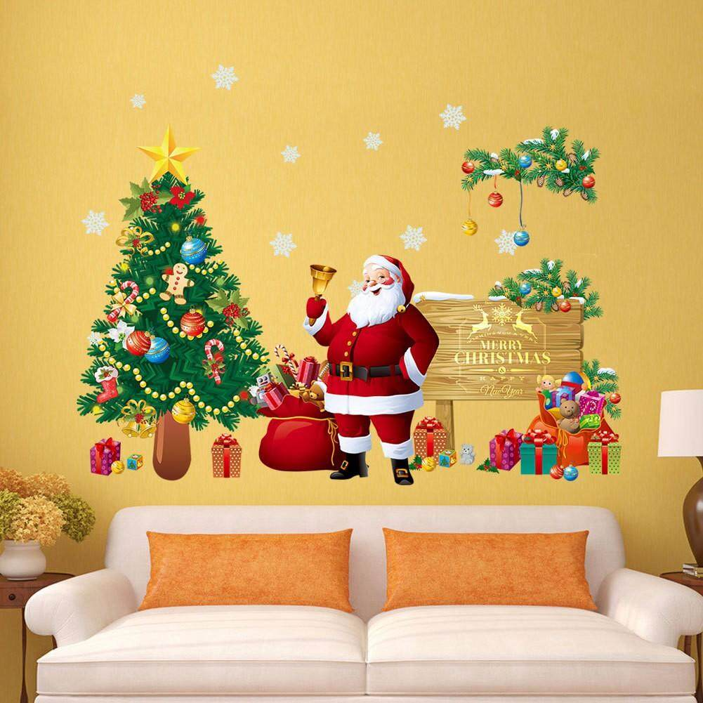 New Christmas tree Santa living room bedroom wall sticker paper wholesale can remove mural