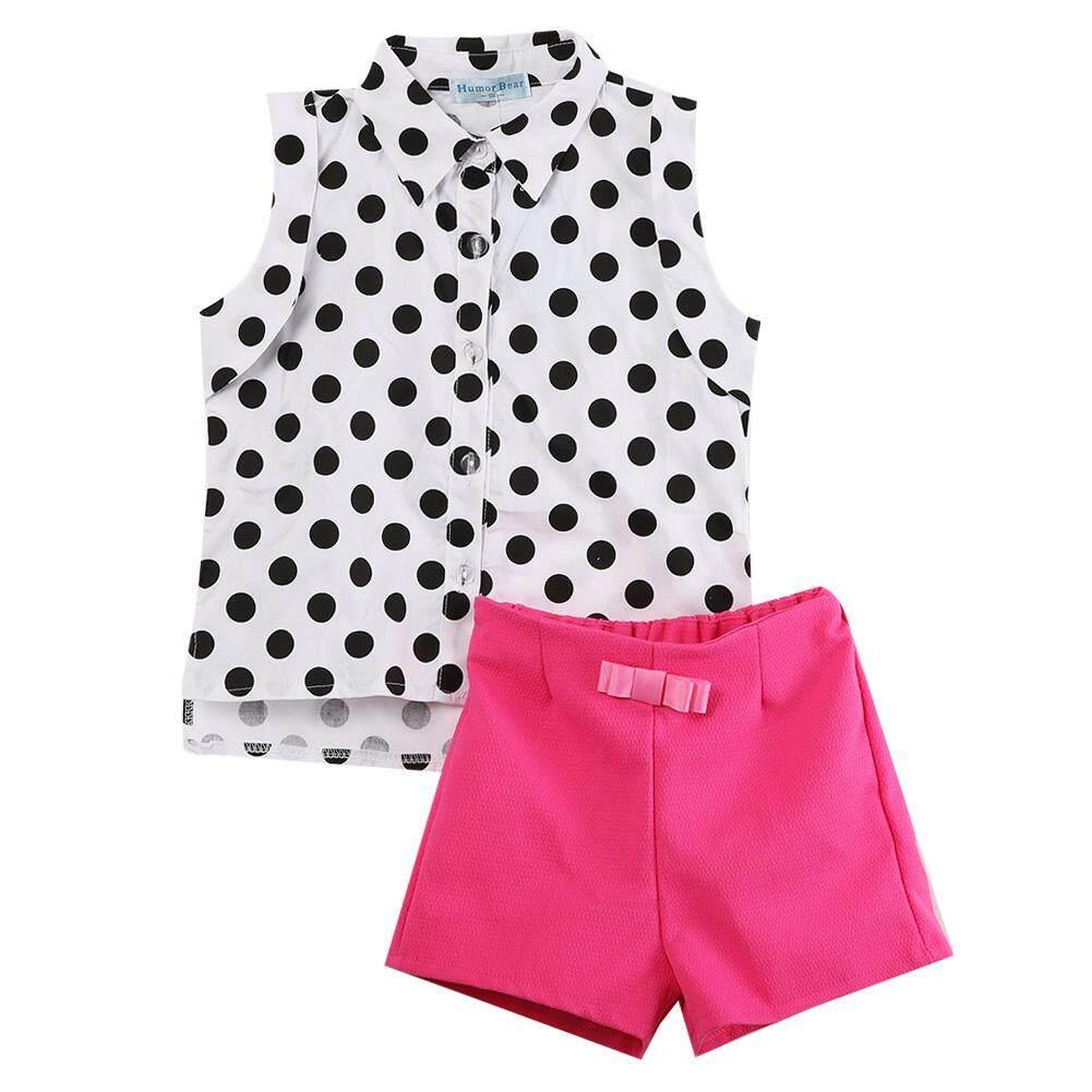 Features 2 Pcs Baju Bayi Anak Perempuan Polka Kaus Celana Pendek Polkadot Atasan Pink