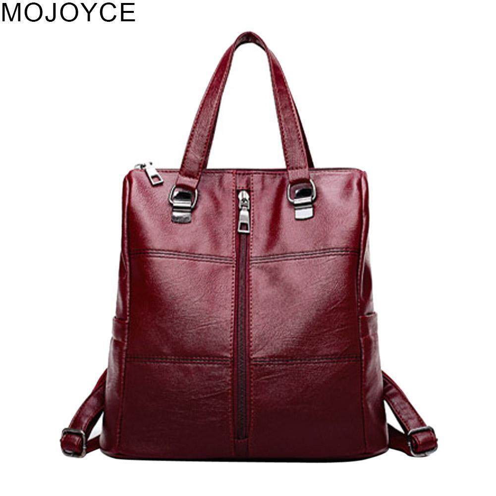 MOJOYCE Women PU Leather Backpack Casual Zipper Teenager Shoulder Travel Schoolbags Handbag