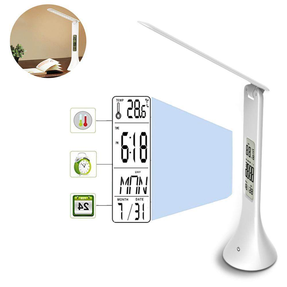 GoodGreat LED Calendar Desk Lamp, Dimmable Eye-caring Reading Light With 3 Brightness Levels, Alarm & Snooze Function, Displays Date & Time & Temperature, USB Rechargeable, Touch Control - intl