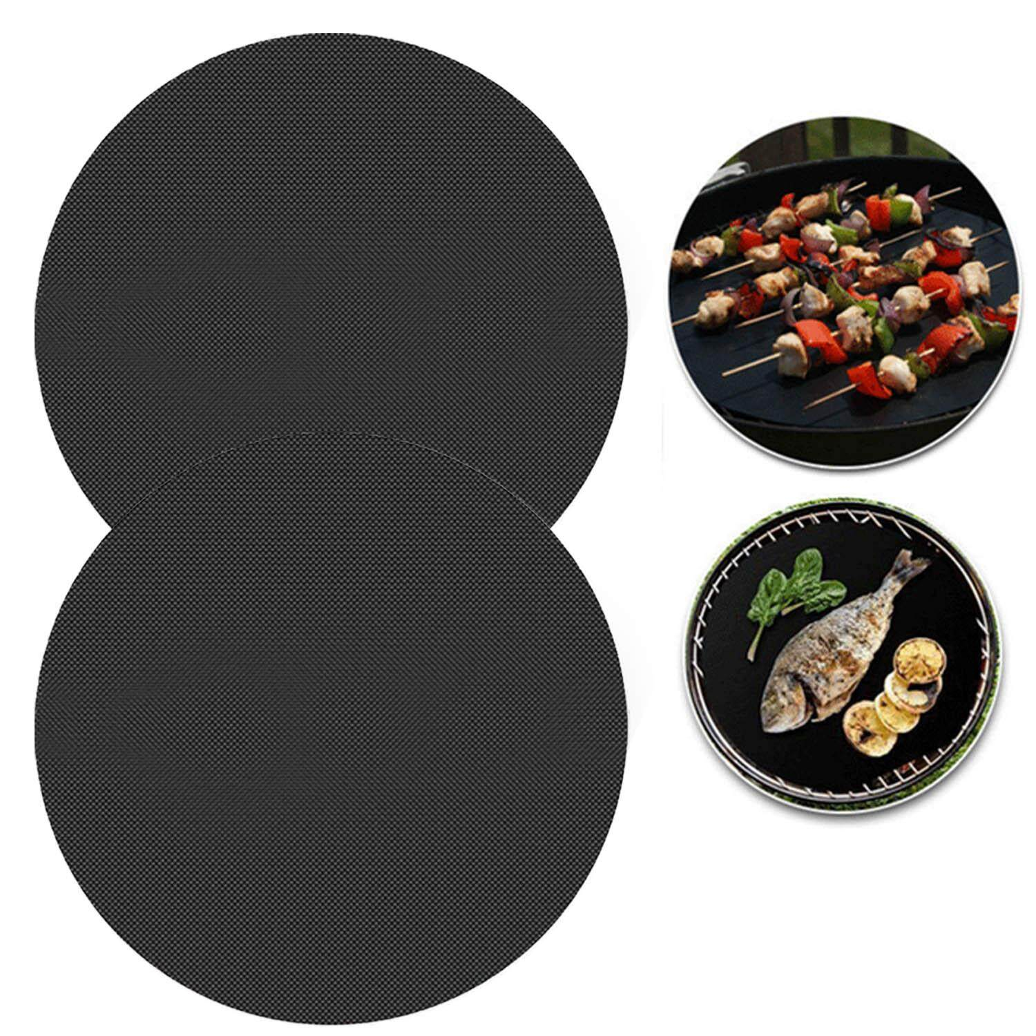 2 PCS Reusable Round Non Stick BBQ Barbecue Grill Mat Pad Sheet Baking Pan Fry Liner for Charcoal Grills Electric Ovens Microwave Ovens - intl