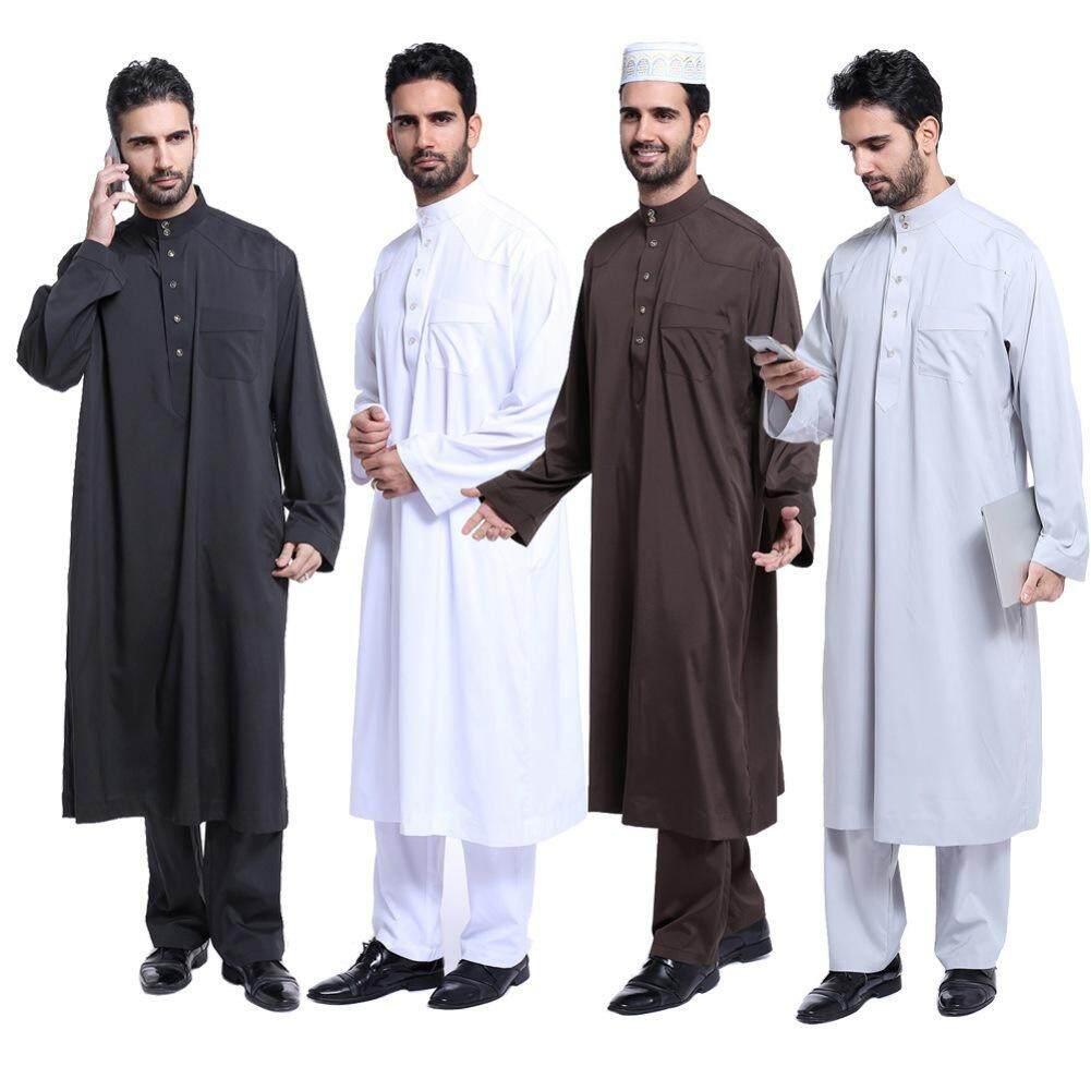 คุณภาพสูงผู้ชายเสื้อผ้าสไตล์ Abaya 4 สีมุสลิมอิสลามเสื้อผ้าสำหรับชายขนาดพิเศษ - Intl.