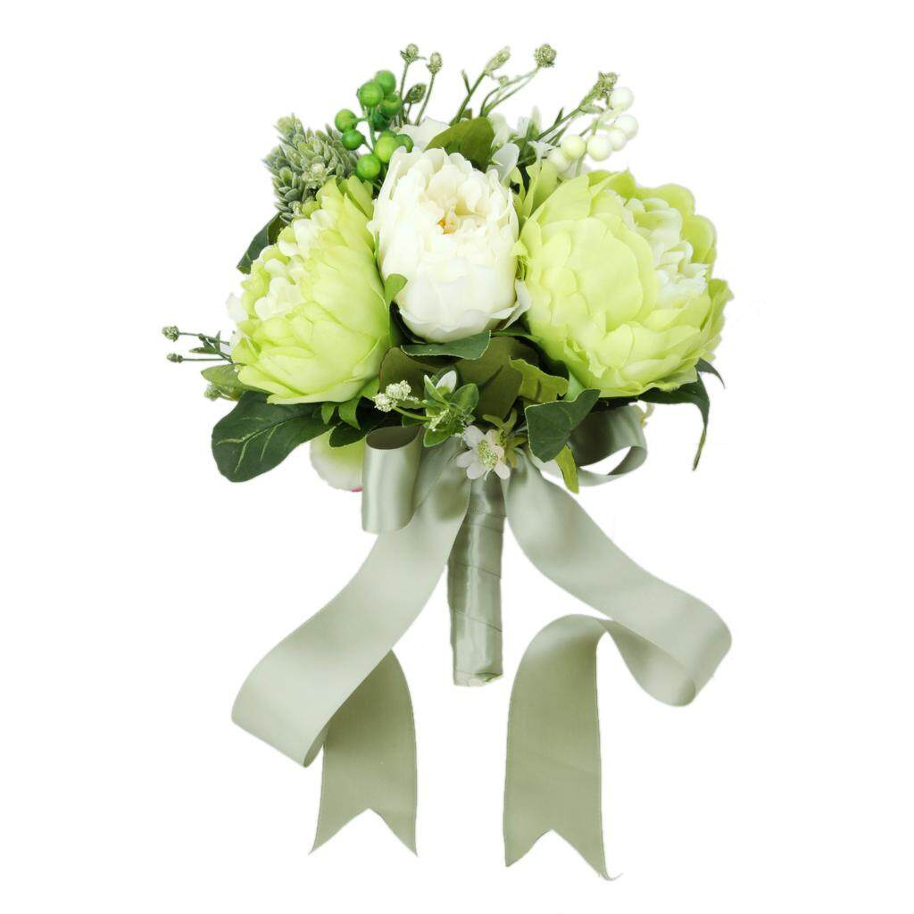 GuangquanStrade Artificial Green Wedding Bouquets For Brides Bridesmaid Hand Holding Flower