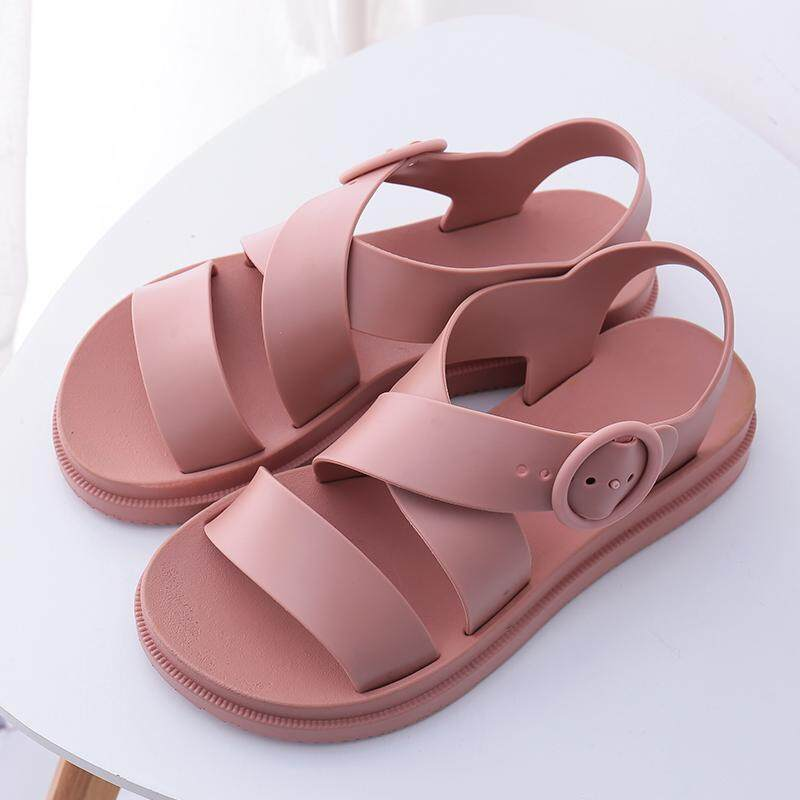 56576e169a4a2e Plastic Sandals Female Summer Thick Bottomed Anti-slip Waterproof Plastic Shoes  Flat Versatile Korean Style