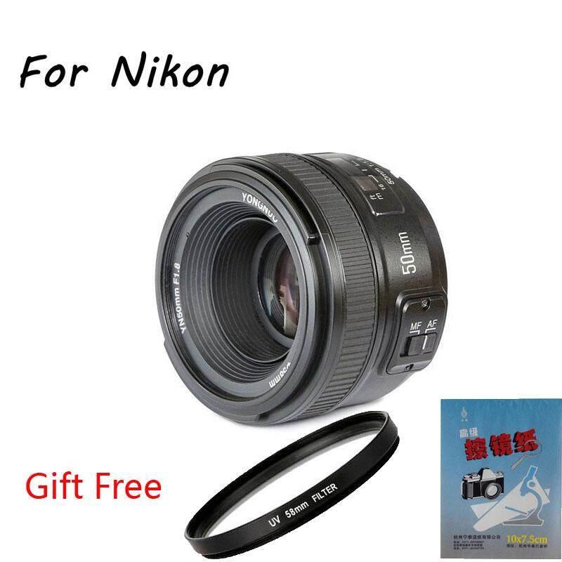 Yongnuo YN50mm F1.8 Standar Lensa Utama Aperture Besar Auto Fokus Manual AF Dana untuk Nikon Kamera DSLR dengan Filter UV