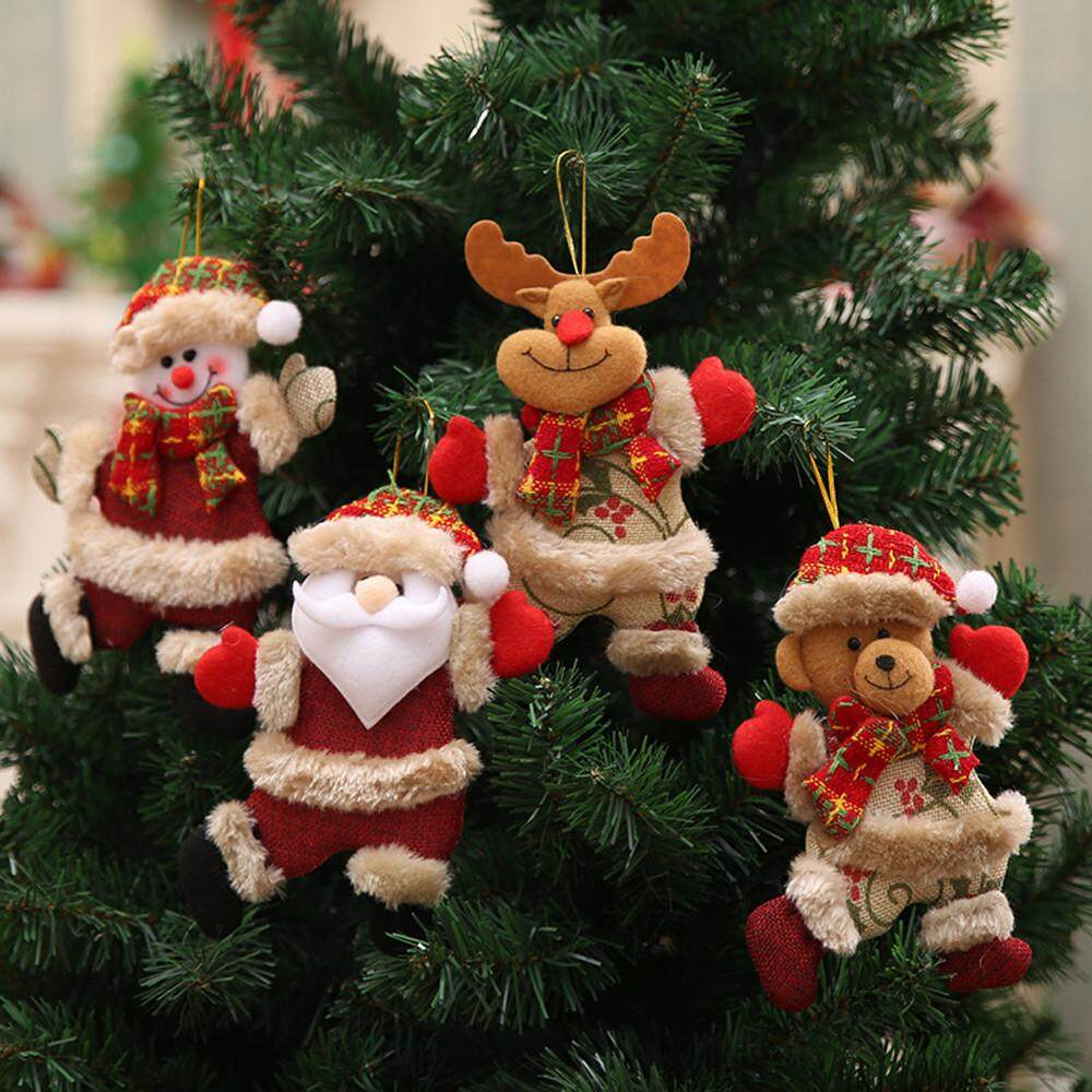 Fresh Christmas Tree Philippines.4pcs Christmas Ornaments Gift Santa Claus Snowman Tree Toy Doll Hang Decorations