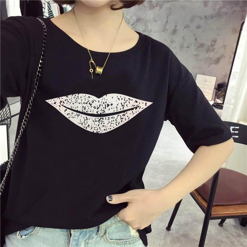 2017 new summer t-shirt t-shirt coat all-match loose lips female