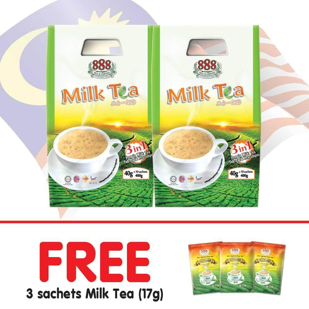 888 3 in 1 Instant Milk Tea (40g x 10 Sachets) - [Bundle of 2] + [Free Gifts]
