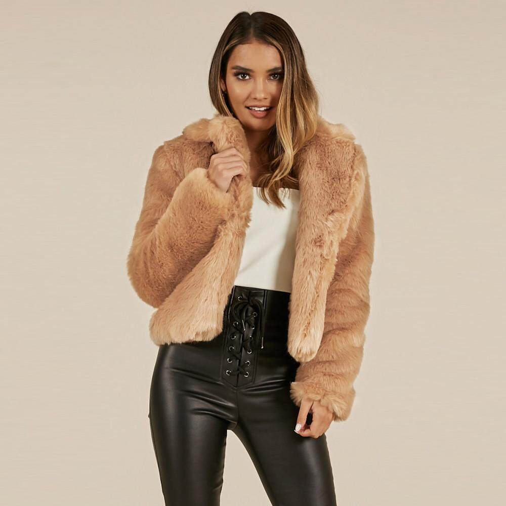 bdd2c5e2c34 Aiipstore Women Coat Lapel Collar Faux Fur Coat Warm Winter Coat Overcoat  Outercoat