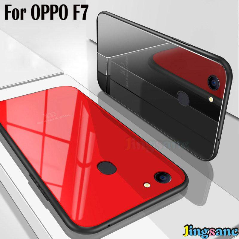 For OPPO F7 Ultra Thin Hard Back Case Hybrid Glass+TPU Material Phone Case