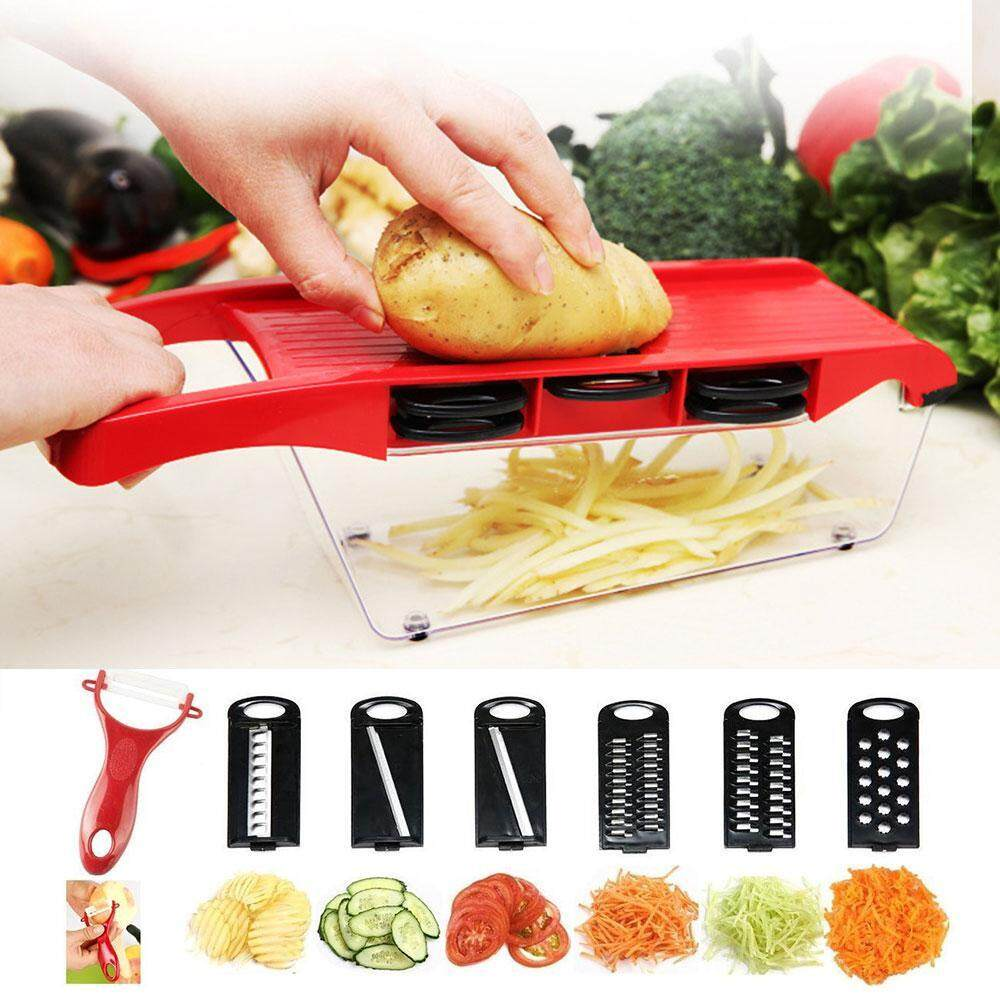 Great Deal Niceeshop Slicer Vegetable Cutter Grater Chopper Julienne Slicer 6 Interchangeable Blades With Peeler Hand Protector Food Storage Container Cutter For Potato Tomato Onion Cheese Cucumber Et Intl