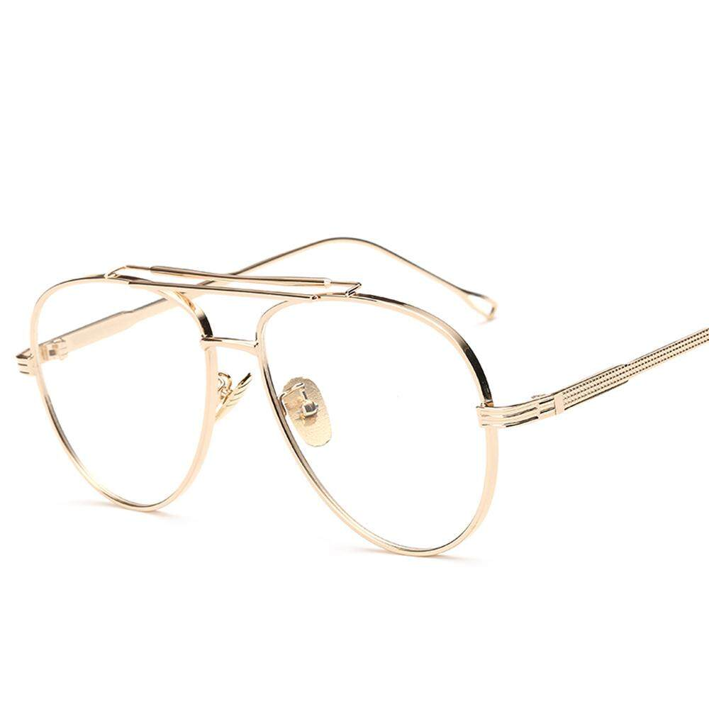 054d42ba98 Clear Lens Gold Male Spectacle Frames for Men Retro Flat Top Designer Eye  Glasses Man Eyewear
